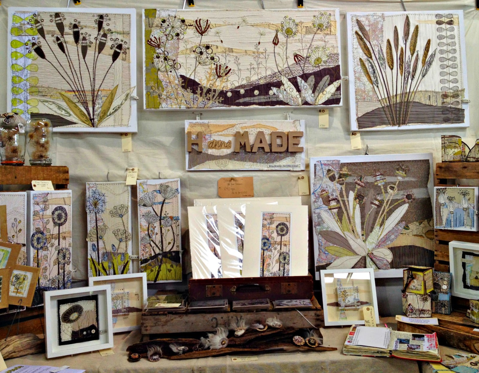 H-anne-MADE textile art stand at woolfest