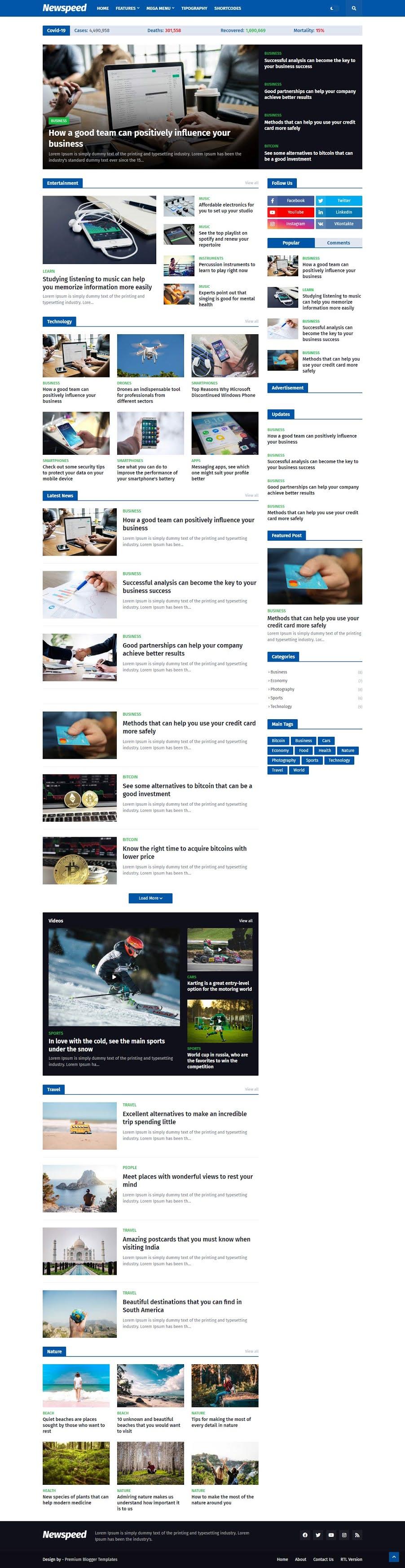 ScreenShot of Newspeed Blogger Template