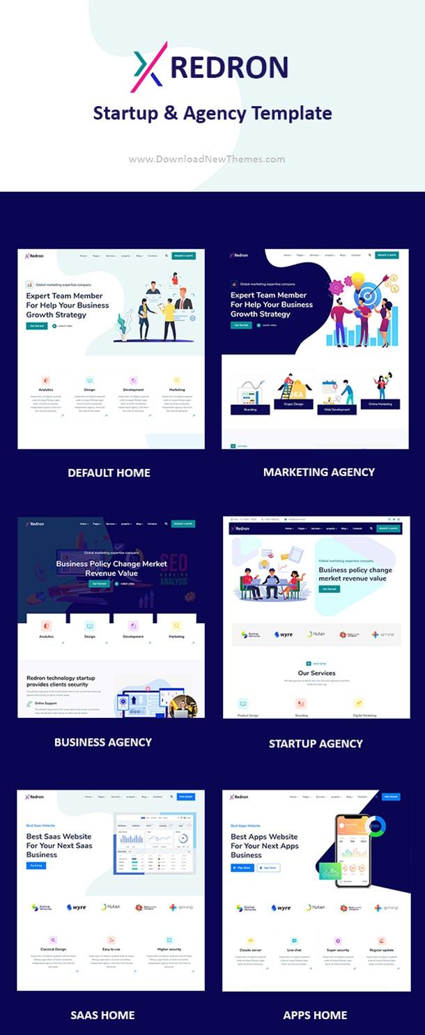 6in1 Multipurpose Startup & Agency Premium Templates