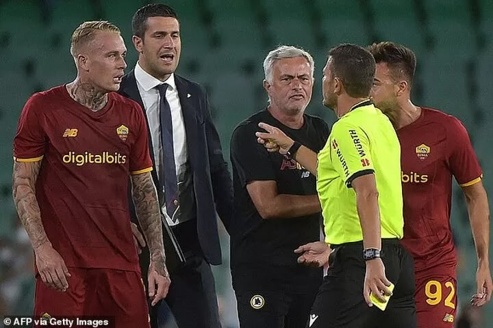 Mourinho SENT OFF & Roma reduced to 8 men as they got hammered 5-2 by Real Betis