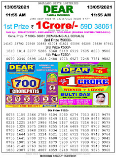 Nagaland State Lottery Result Today 13.05.2021