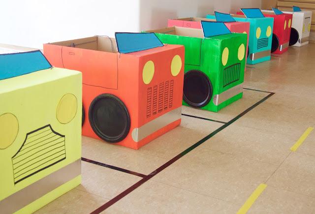 colourful cardboard cars