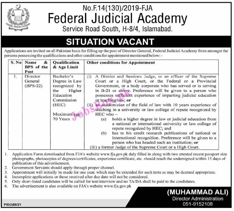 Federal Judicial Academy FJA Jobs 2021