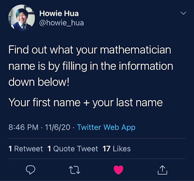 Howie Hua tweet about being a math person