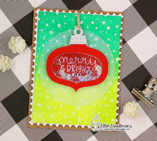 Ornament Card by Ellen Haxelmans | Ornamental Wishes Stamp Set, Ornament Shaker Die Set, and Petite Snow Stencil by Newton's Nook Designs #newtonsnook #handmade