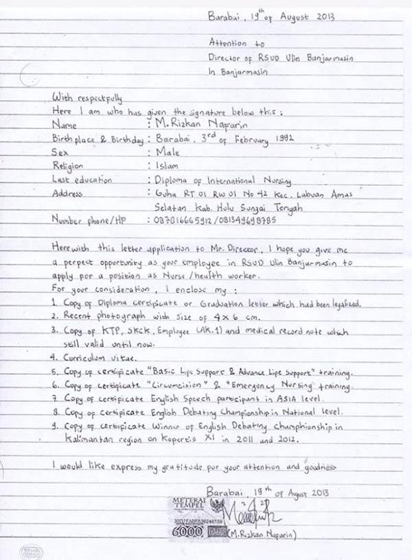 Contoh Surat Lamaran Kerja Tulisan Tangan Contoh Surat