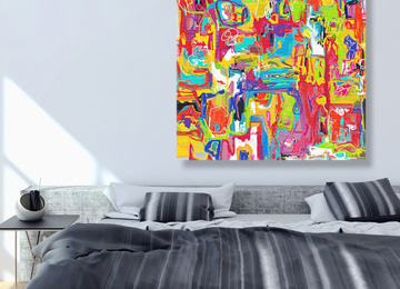 Large multi coloured abstract wall art