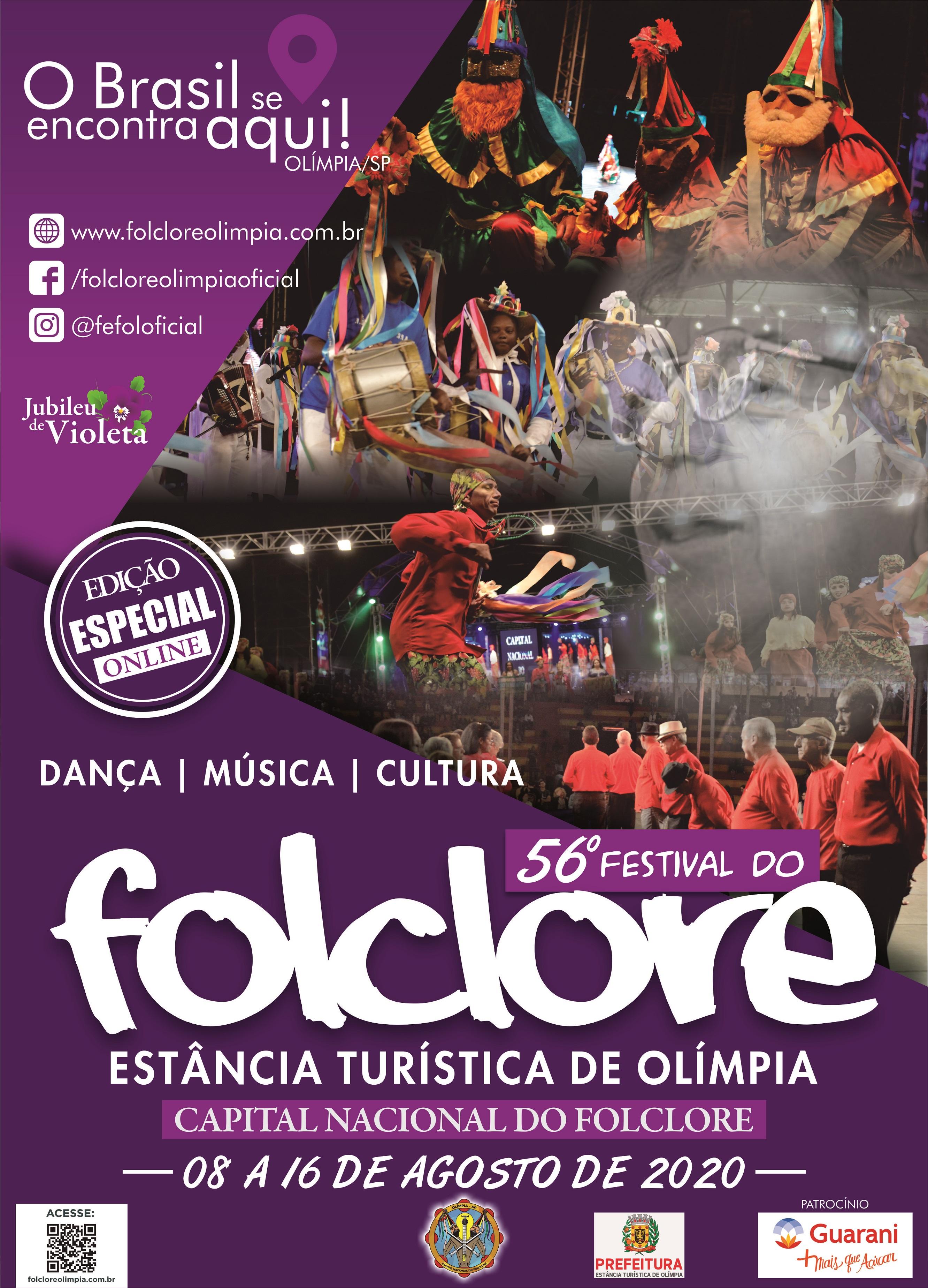 """Festival do Folclore de Olímpia """"Digital"""" lança cartaz oficial e anuncia detalhes sobre a edição 2020"""