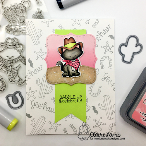 Saddle up and celebrate by Claire features Frames Squared die set Newton Rides West stamp and die set Land Borders die set by Newton's Nook Designs; #inkypaws, #newtonsnook, #catcards, #cardmaking, #westerncards