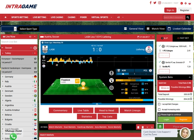 Intragame Live Betting Screen