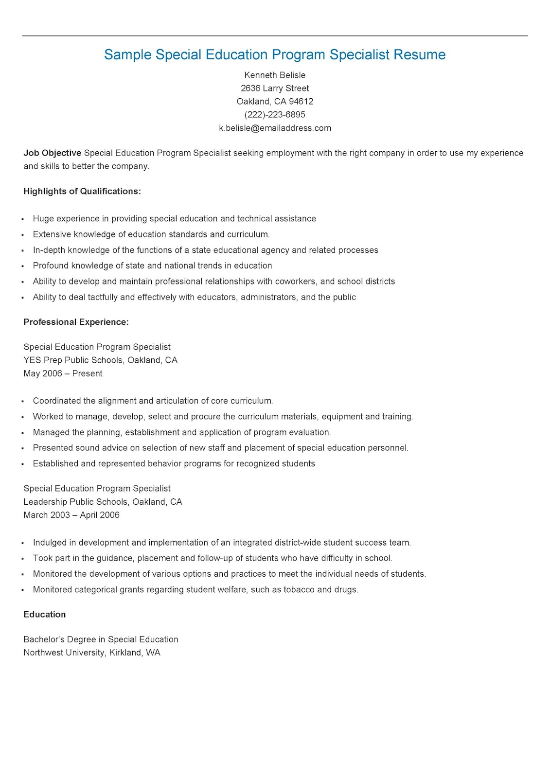 Resume Samples: Sample Special Education Program Specialist Resume