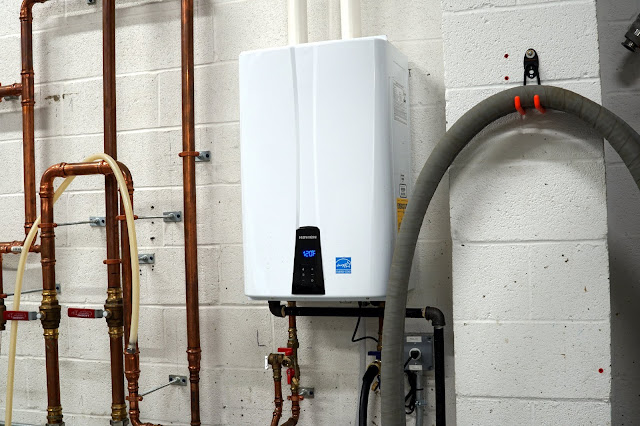Tankless on-demand hot water heater.