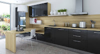 Wooden top black kitchen cabinet