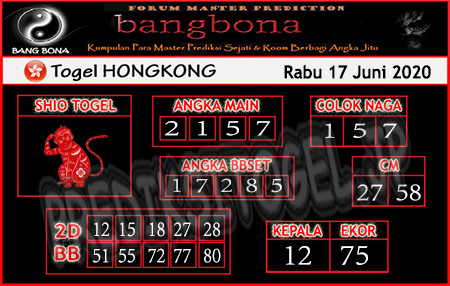 Prediksi HK Rabu 17 Juni 2020 - Bang Bona