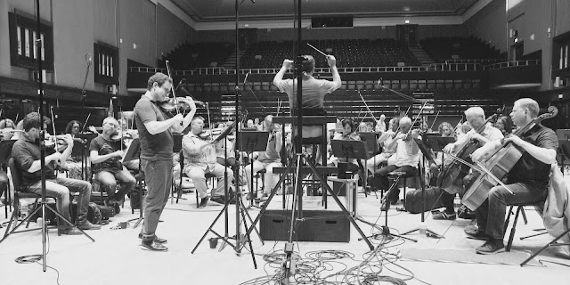 Jack Liebeck, Levon Parikian and the BBC Concert Orchestra at recording sessions for Stuart Hancock's disc Raptures (Orchid Classics)