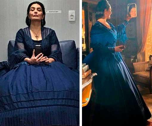 Teresa Cristina vestido azul