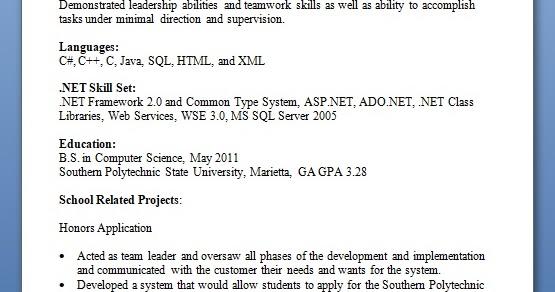 Microsoft Net Technologies Sample Resume Format In Word Free Download