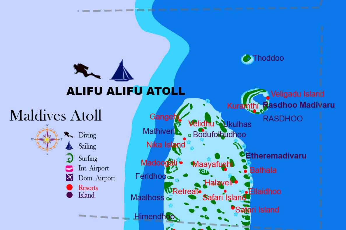 Alifu Atoll Map Maldives