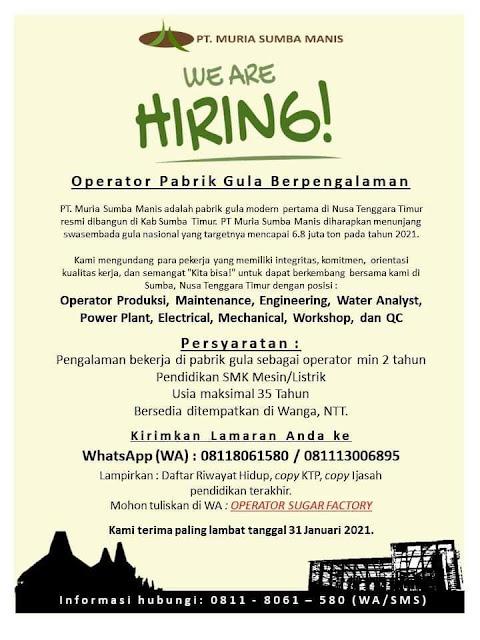 Lowongan Kerja PT Muria Sumba Manis sebagai operator pabrik gula berpengalaman