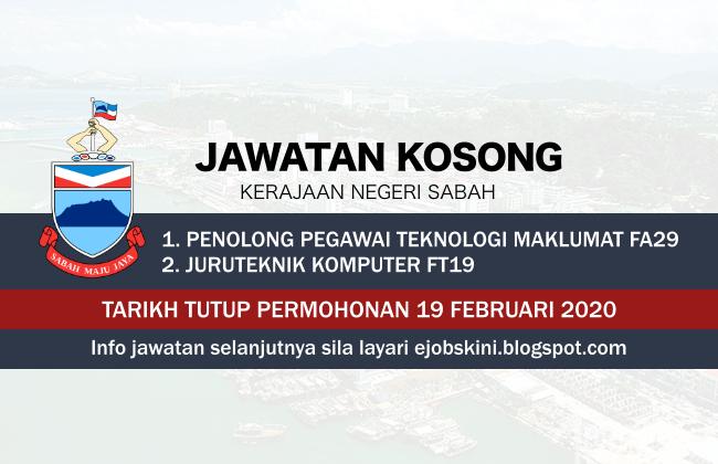 Jawatan Kosong Kerajaan Negeri Sabah Februari 2020