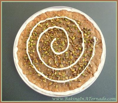 Pistachio Toffee Dessert Pizza | recipe developed by www.BakingInATornado.com | #recipe #dessert