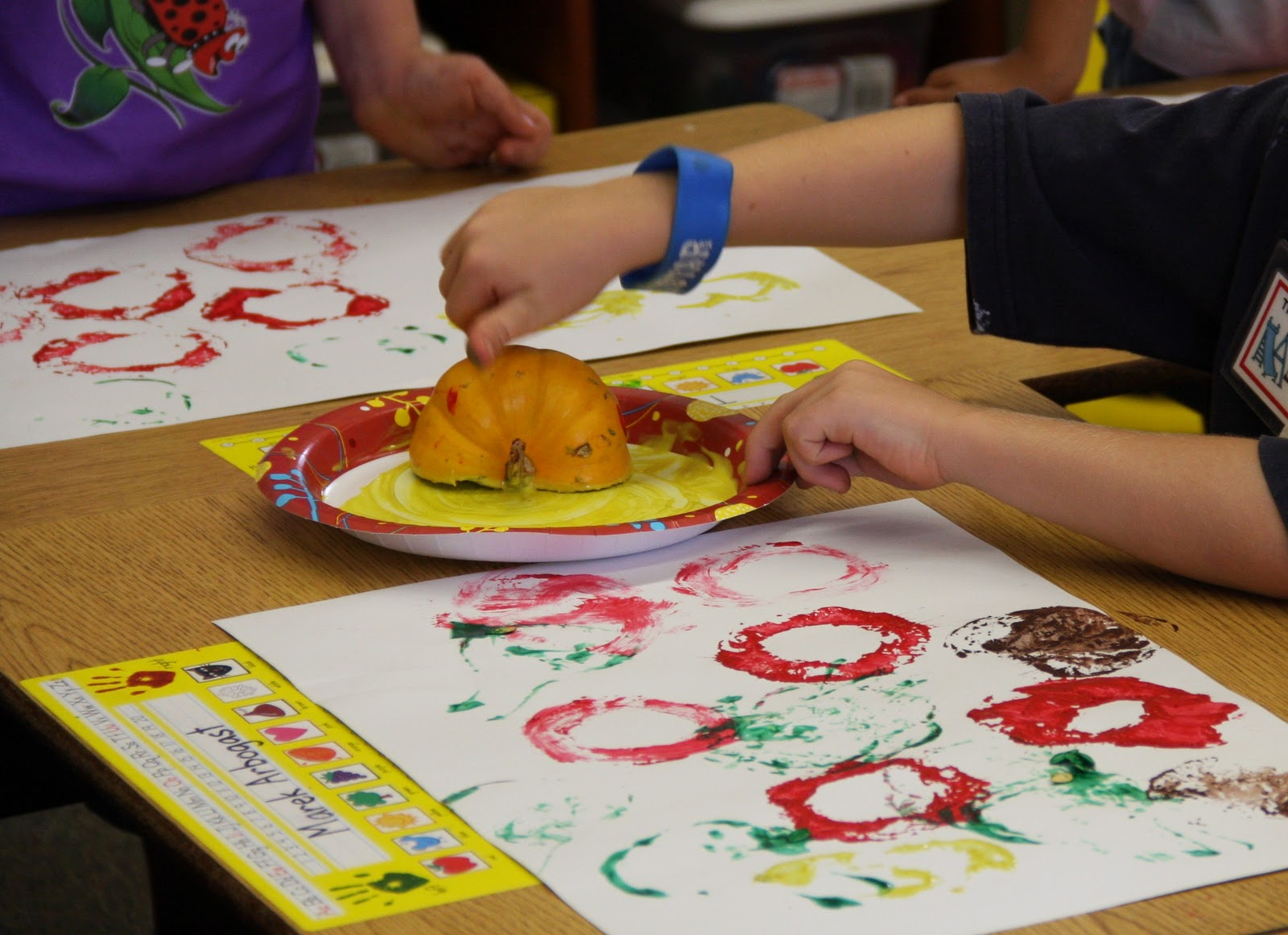 Kindergarten Rocks Stamping Art With Fruits And Veggies