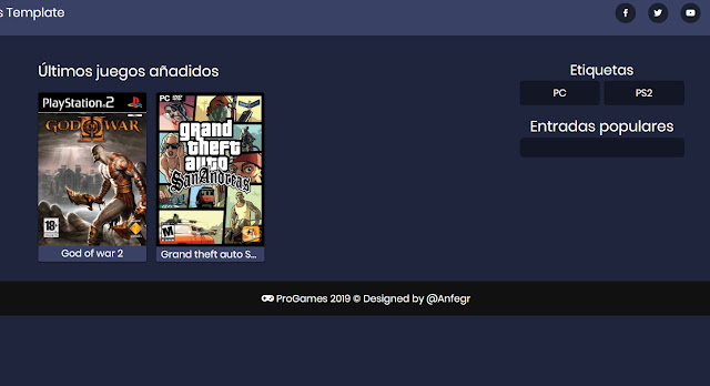 Pro Games Template - Portada