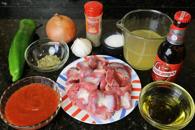 Ingredientes para mollejas de pollo a la cerveza