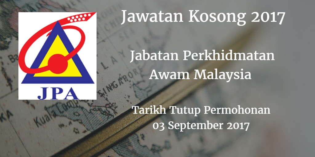 Jawatan Kosong JPA 03 September 2017
