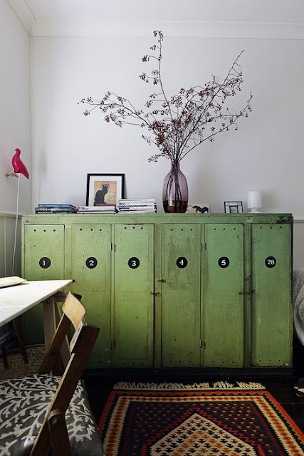 Green vintage lockers