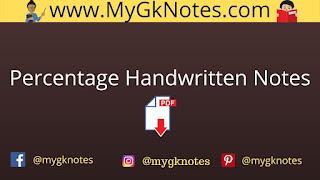 Percentage Handwritten Notes PDF in Hindi