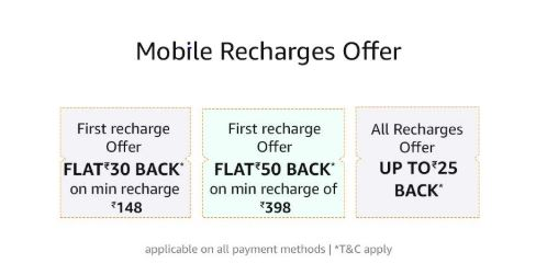 Amazon Recharge Offers- Get Up to Rs.100 Cashback (All Users)