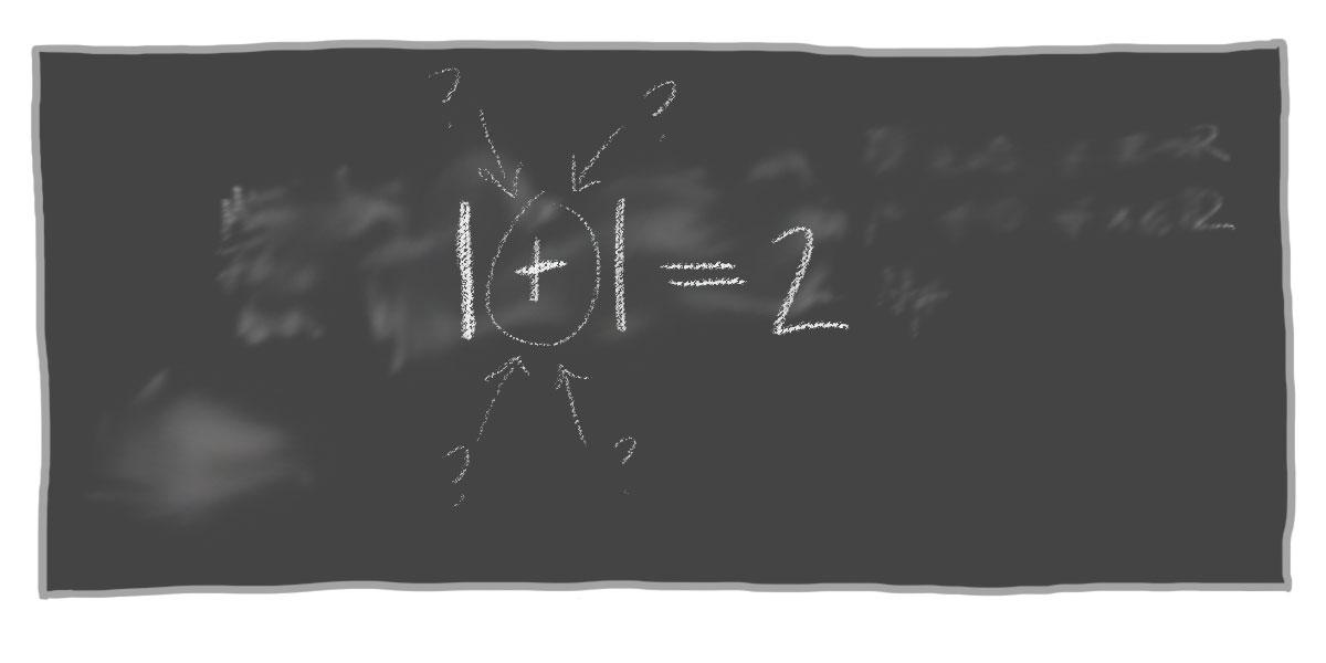 Liitutaululla kysymys: 1+1=2, mutta mitä tarkoittaa plus?