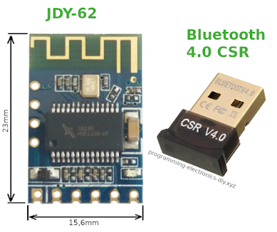 Bluetooth Stereo Audio Receiver JDY-62 module and the Bluetooth 4.0 CSR dongle transmitter