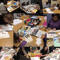 Illustration Bootcamp students hard at work to finish their works in time for the exhibition