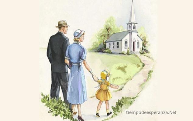 Padres con su hija yendo a la iglesia