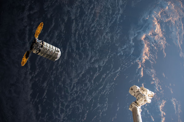 Cygnus Spacecraft seen from the International Space Station at Sunrise