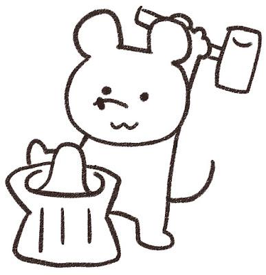 餅つきをするネズミのイラスト(子年)白黒線画