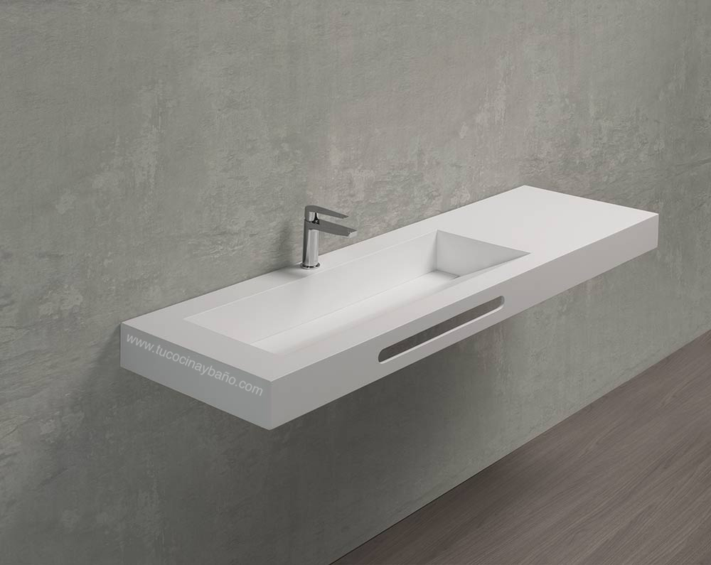 Encimera lavabo mural tapeta tu cocina y ba o - Lavabo microcemento precio ...