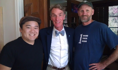 On the set of An Honest Liar, Drew Sugimoto (left), Bill Nye the Science Guy (center), Duane Andersen (right)