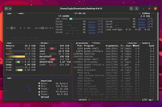 Bashtop Linux Bash resource monitor TUI