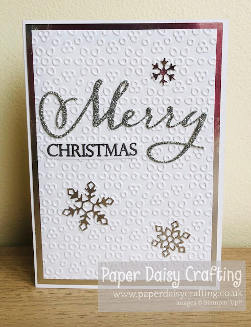 Merry Christmas to all silver and white card Stampin Up Paper Daisy