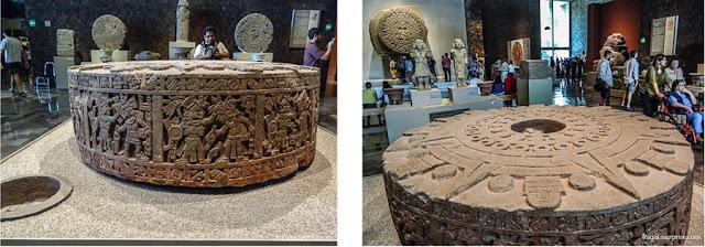 Pedra de sacrifícios da cultura Asteca no Museu Nacional de Antropologia do México