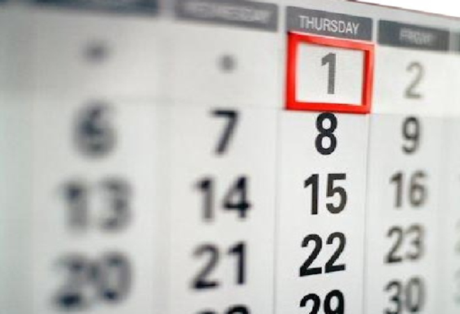 Calendario año nuevo
