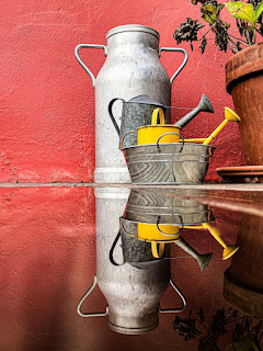 An assortment of watering cans - with a milk can in the back. Photo by Clerment Falize on Unsplash.