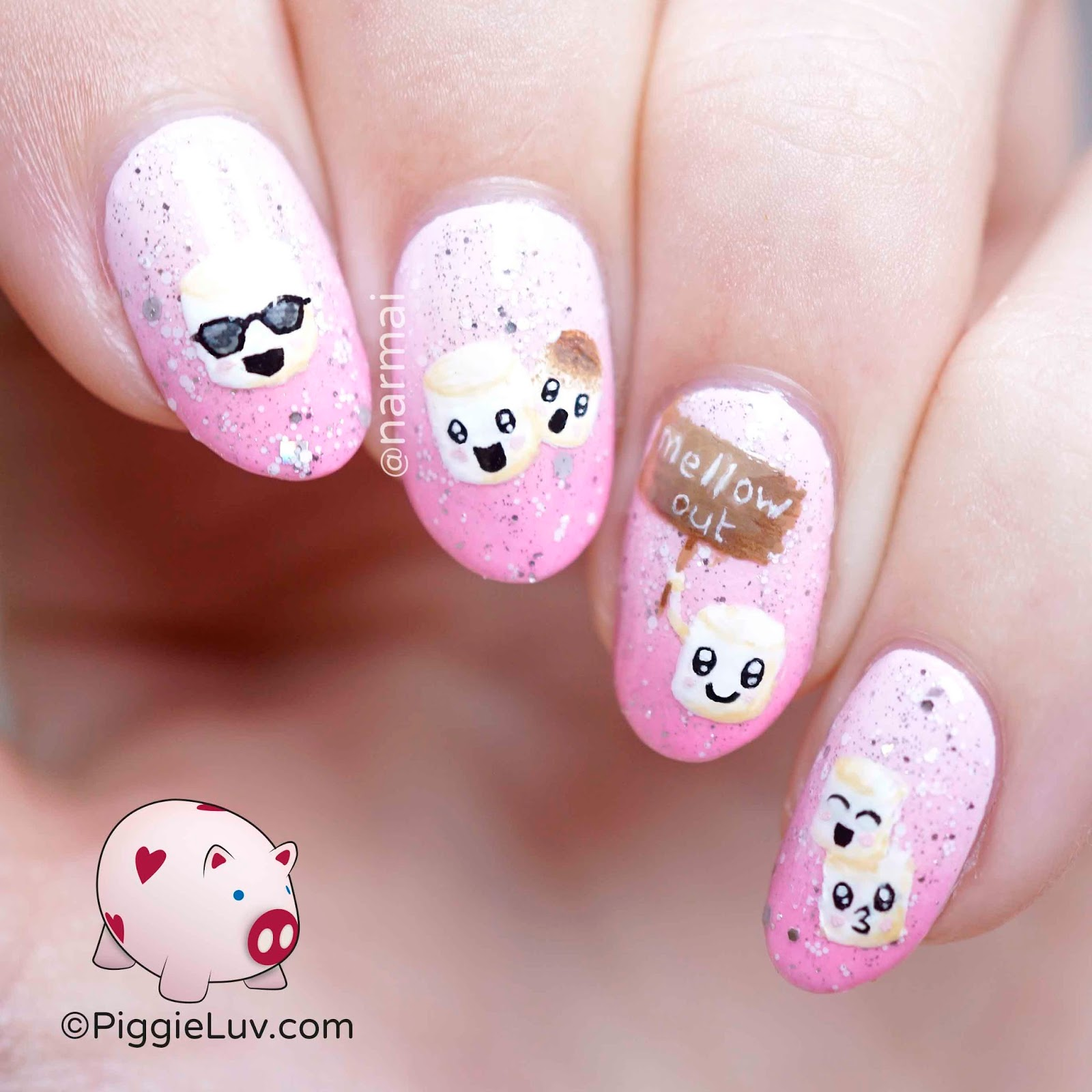 PiggieLuv: Kawaii marshmallows nail art