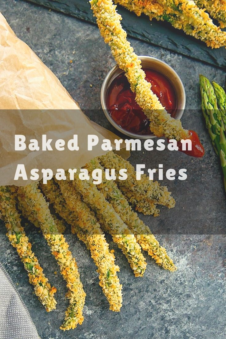 Baked Parmesan Asparagus Fries - Asparagus coated in panko and parmesan cheese and baked until crispy is a healthier alternative to regular fr