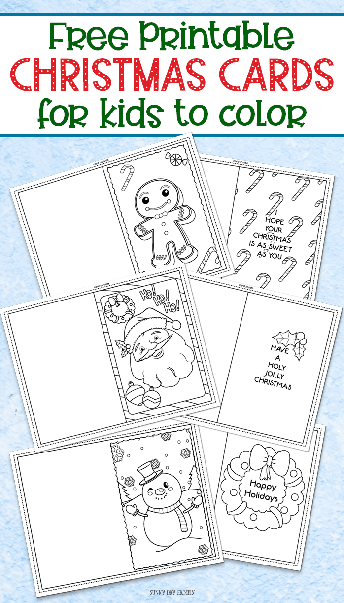 FREE printable Christmas cards for kids to color and send! Perfect for teacher gifts, grandparent gifts, or a Christmas random act of kindness. Super cute and fun Christmas craft for kids! #christmascards #christmascardideas ##christmas #christmascrafts #craft #diy #kidscrafts #kidsactivities