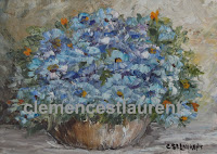 Blue bouquet, 5 x 7 oil painting by Clemence St. Laurent - small blue flowers in a vase