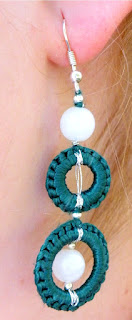 Crochet silk earrings
